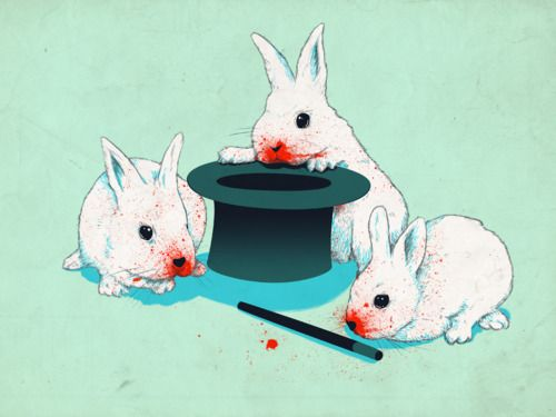 """""""Don't Trust in Cute Bunnies"""" © by Matheus Lopes Castro for Threadless Tees. (Red only appears in the dark, after image has been exposed to UV light.)"""