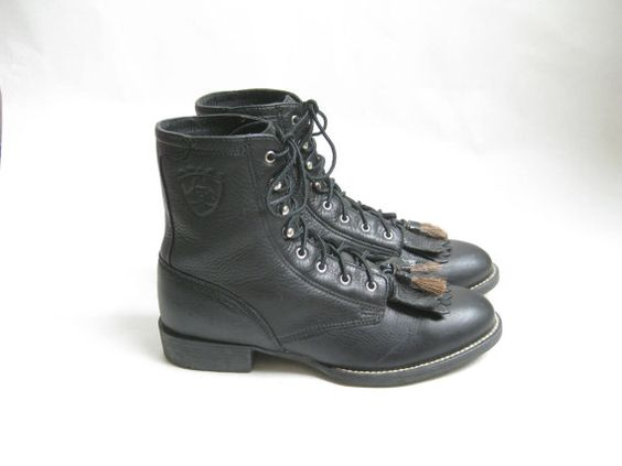 Vintage Ariat Black Lace Up Roper Boots. Size 6 1/2 | Roper boots ...