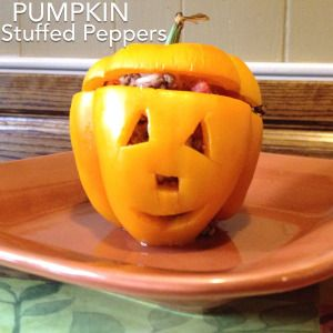 Quick and Clean Halloween Fun Recipe! Stuffed Peppers!
