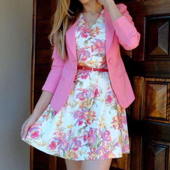 blazer-rosa-pink-elegante-moda-vestido-floral-2016-comprar-hora-de-diva