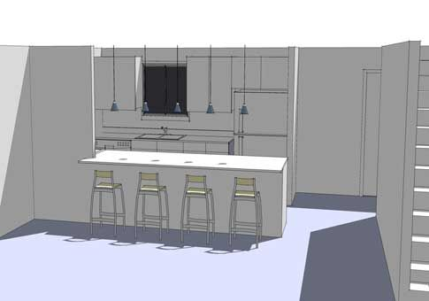 Exactly what I have in mind for opening the kitchen to the front living room. Perhaps include the range in the counter/bar? option1web
