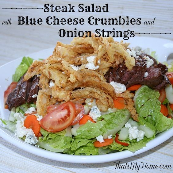 Steak Salad with Blue Cheese Crumbles and Onion Strings ...