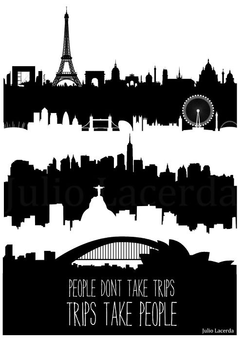 Love the silhouettes here !!  Paris. London. NYC. Rio.Australia.