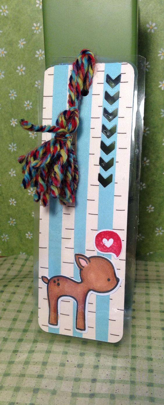 Lawn Fawn- into the woods laminated bookmark