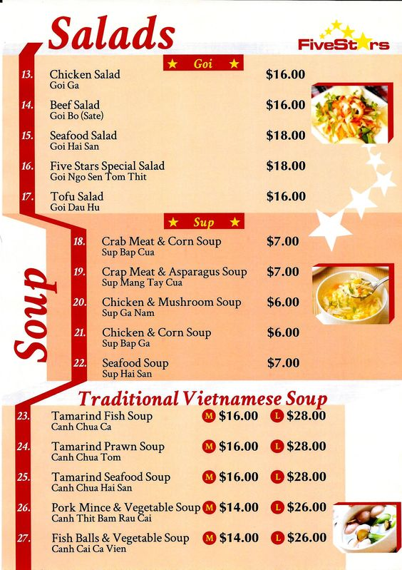 five star vietnamese restaurant menu -fendalton- christchurch - restaurant menu