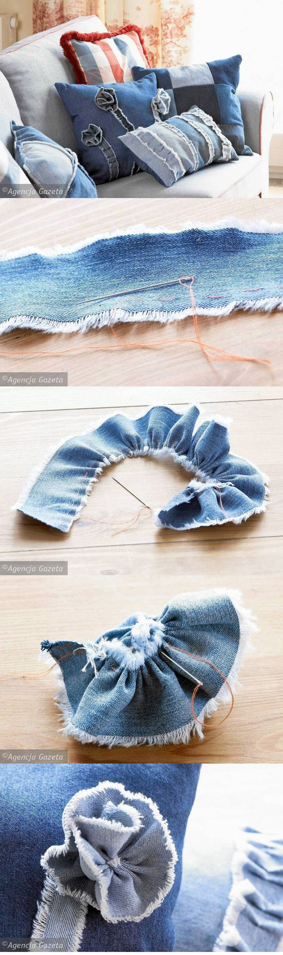 Denim Flower from Cztery Kąty - use 3-4 cm strip of denim; sew a running stich along one long edge; gently and evenly gather the fabric, forming the flower; sew through the flower to secure fabric in place; apply to your pillows, favourite jeans, etc.