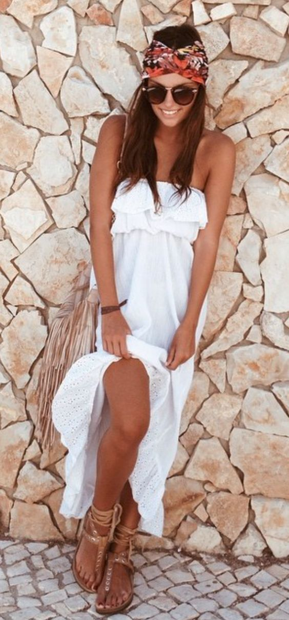 Strappy sandals and boho chic maxi ruffle top dress with modern hippie headband scarf. For the BEST Bohemian fashion trends FOLLOW http://www.pinterest.com/happygolicky/the-best-boho-chic-fashion-bohemian-jewelry-gypsy-/ now.