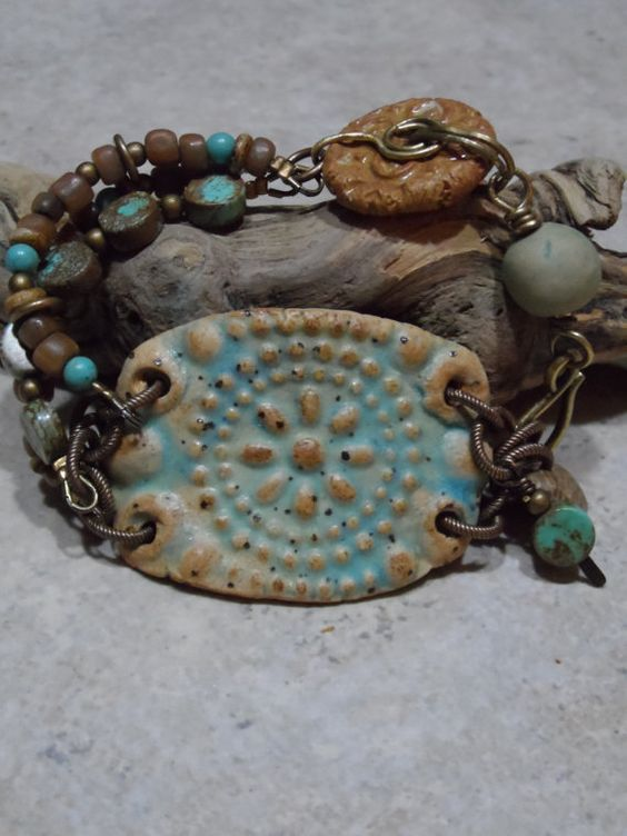 Navajo  Ceramic Turquoise and Brass Bracelet by juliethelen, $46.00