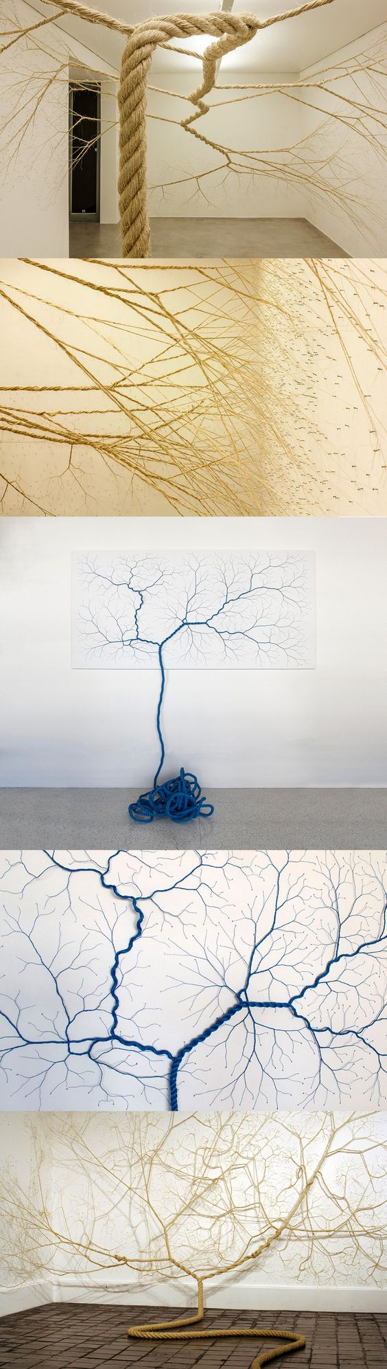 Untwisted Ropes Tacked to Gallery Walls Appear to Sprout like Trees http://www.thisiscolossal.com/2015/06/rope-installations-mello-landini/: