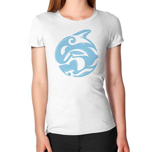 Tribal Killer Whale Tattoo in Blue Women's T-Shirt