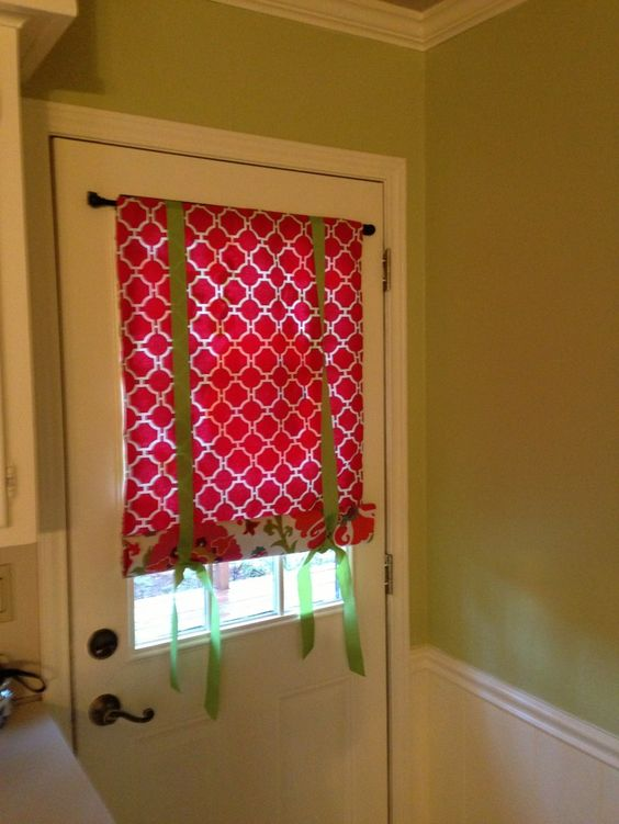 Splendid Small Door Window Curtains With Red Skylight Blinds ...