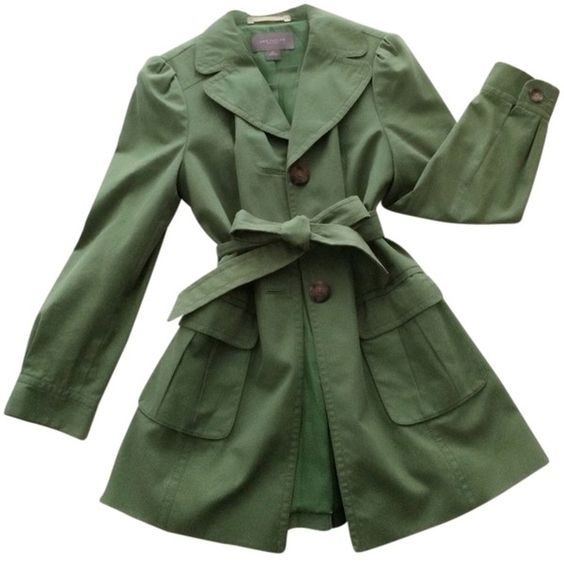 Pre-owned Ann Taylor Trench Coat Green Jacket (€175) ❤ liked on Polyvore featuring outerwear, coats, jackets, green, summer trench coat, waterproof coat, lightweight coat, ann taylor and petite trench coat