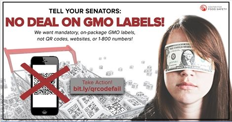 """Senators Stabenow and Roberts released the language of a so-called """"compromise"""" bill on GMO labeling and it's BAD. It would immediately void Vermont's mandatory bill set to go into effect on July 1st, as well as give companies a suite of options for labeling that would make it incredibly difficult for us to actually find out what's in our food. We will not let our Senators sell our rights away to protect industry profits! Send a message to your Senators. #GMOs"""