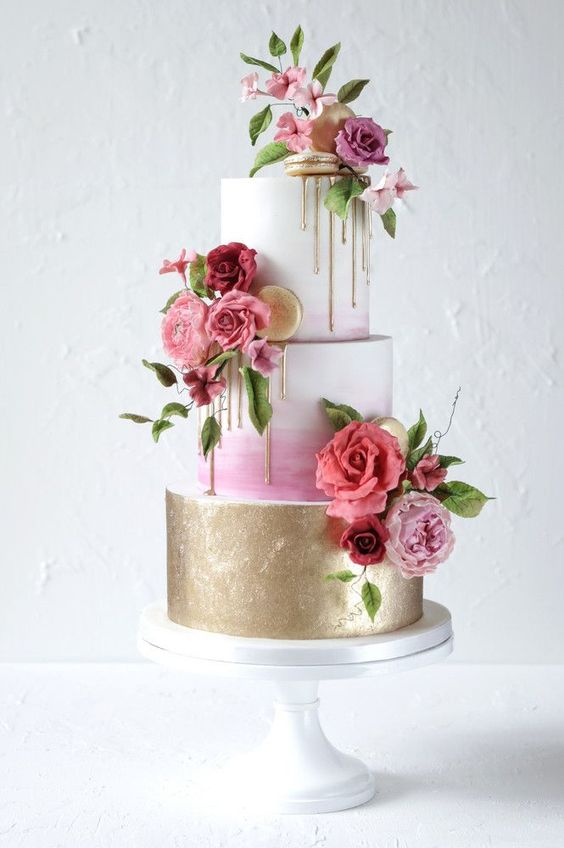 What a beautiful wedding cake - drips and flowers!