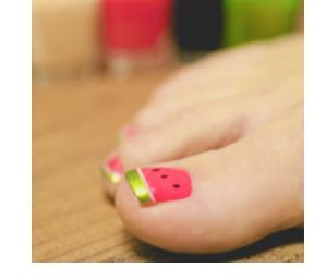 Watermelon toes: Summer Pedicures, Summer Toenails, Watermelon Toenails, Girls Toes, Watermelon Pedicure, Watermelon Nails, Nail Art, Kids Toes, Watermelon Toes