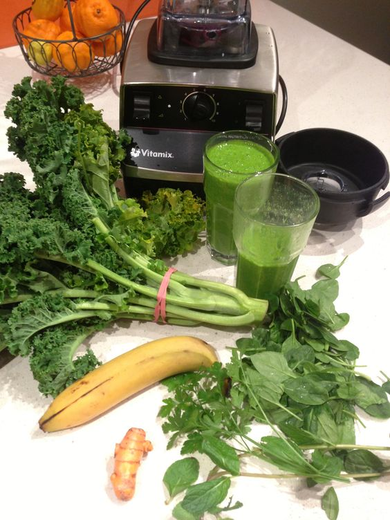 Green Monster Smoothie! There's no right or wrong way to make a green smoothie, but this one has a large volume of greens, creating a monstrous green colour! The raw kale adds important anti-cancer phytonutrients. The linseeds boost the omega-3 content, add fibre and help thicken the drink. In order to obtain a super smooth and silky drink, I recommend a high speed blender e.g. Vitamix.