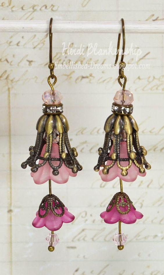 ButterBeeScraps - Beautiful Dangle Earrings -Two Tone Pink Tulip Earrings
