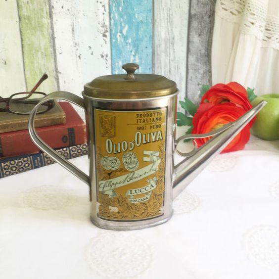 Vintage Italian Kitchen Decor: Vintage Olio D'Olivia Olive Oil Tin Can W/ Spout