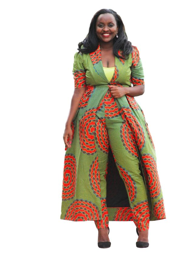 A beautiful two piece ,long coat and trouser in Ankara Fabric of your choice.