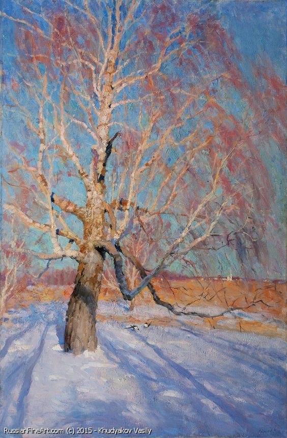 Frosty Day - oil, canvas Russian Master: Khudyakov Vasily