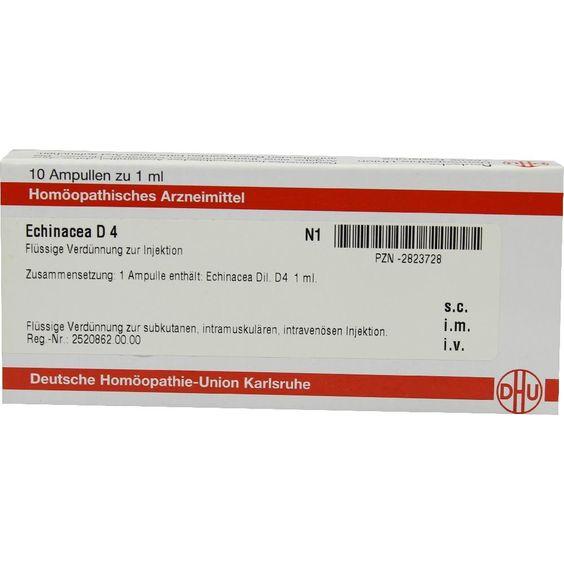 ECHINACEA HAB D 4 Ampullen:   Packungsinhalt: 10X1 ml Ampullen PZN: 02823728 Hersteller: DHU-Arzneimittel GmbH & Co. KG Preis: 10,10 EUR…