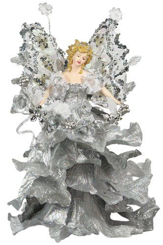 "10"" Attractive Christmas Holiday Casablanca Angel Tree Topper - Silver A01055"