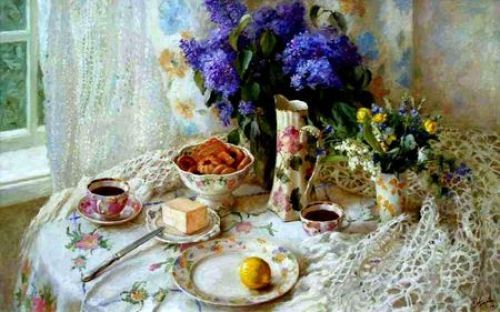 Beautiful Table - Pitcher, Lemon, Knife, Cookie, Flower, Teacup, Plate, Curtain, Butter, Lace Tablecloth