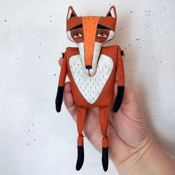 Red Fox-- Original Contemporary Folk Art Doll-- Made to order within a week. $70.00, via Etsy.