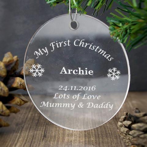 Personalised Acrylic Bauble Decoration Pukka Gifts Personalised Christmas Decorations Christmas Tree Accessories Personalized Christmas Gifts