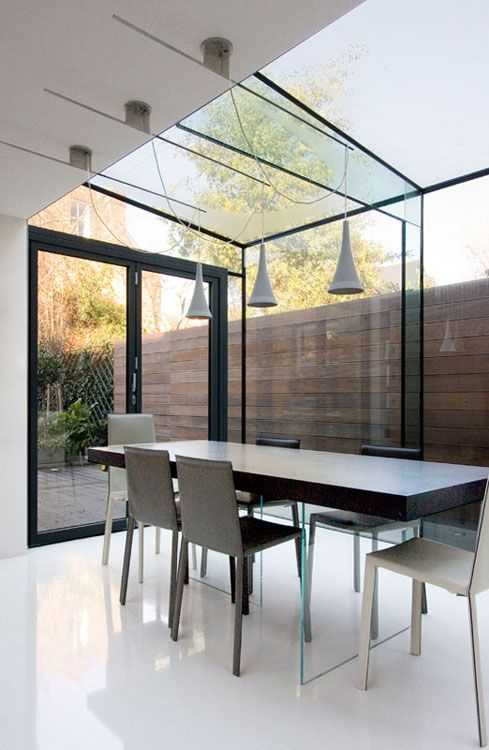 Contemporary glass extension conservatory coffey for Modern garden rooms london