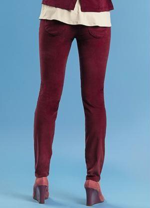 Calça Feminina Skinny de Veludo  Vermelho  Malwee