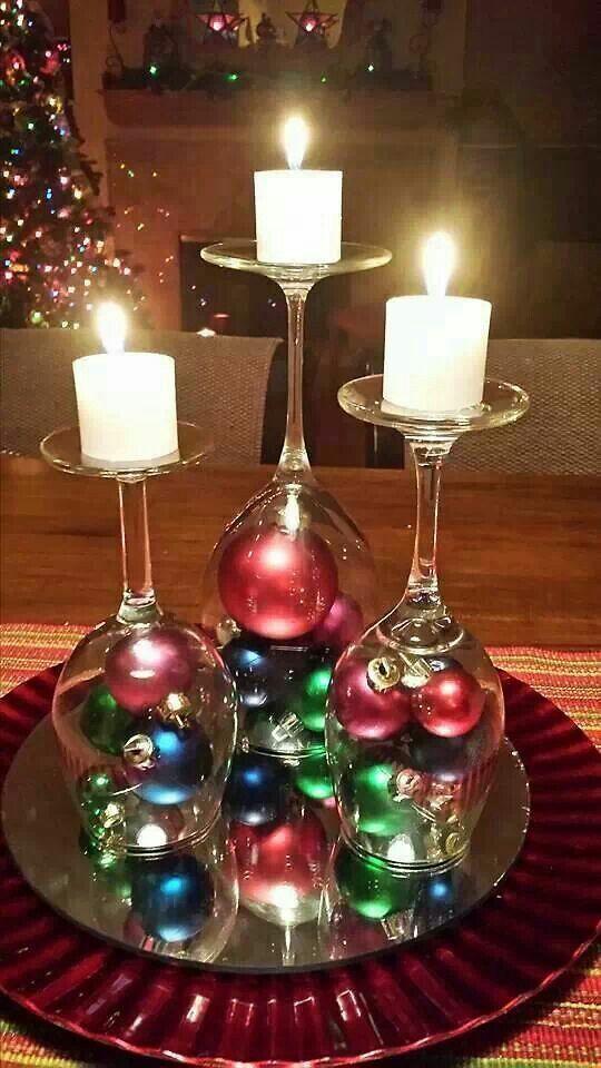 Centro con copas y velas arreglos navidad pinterest for Centro mesa navidad