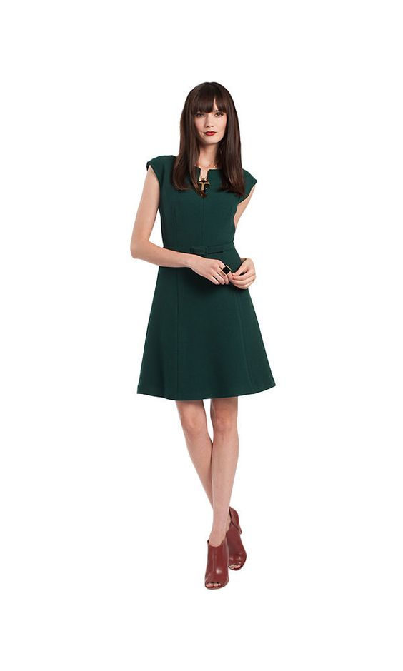 Trina Turk Cap Sleeve A-Line Dress Lake