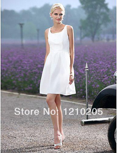 Free Shipping A-line Scoop Short/ Mini Taffeta Wedding Dress  1441254 $74.99