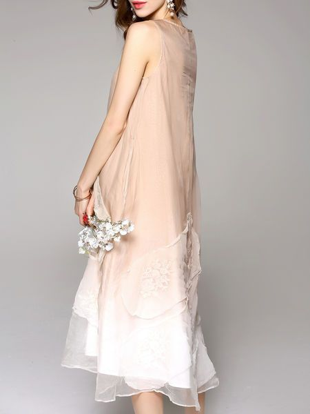 Coffee Casual Silk Midi Dress