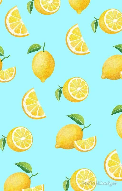 Lemons On Blue Iphone 12 Soft By Mathisdesigns In 2021 Iphone Wallpaper Pattern Lemon Art Lemon Background