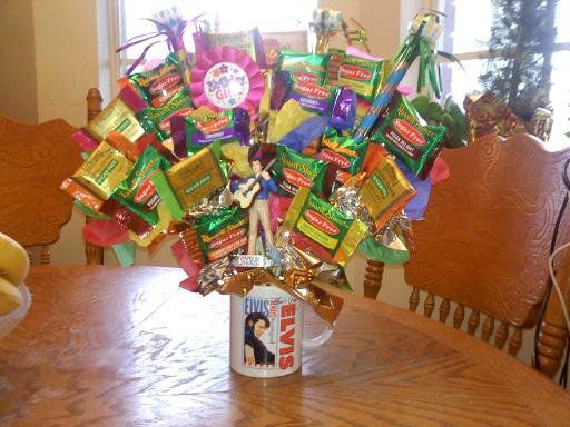 Elvis themed Birthday Candy Bouquet, this candy bouquet is made entirely w/ sugar-free candys