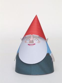 Free downloadable templates to make your own colorful army of paper gnomes.