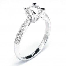 Pave Set Knife Edge Round Diamond Engagement Ring (0.82 cttw)