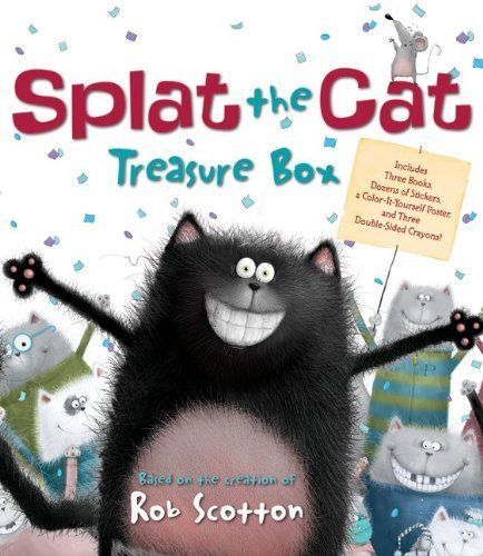 The 10 Best Bedtime Books| <<Splat the Cat>>by Rob Scotton,  Funny and fuzzy, Splat the Cat is the delightfully drawn tale of cat who learns all about school and mice. Full of physical humor and tender moments, Splat is the sort of likable, befuddled hero any kid can relate to and his antics help ease any fears about school.