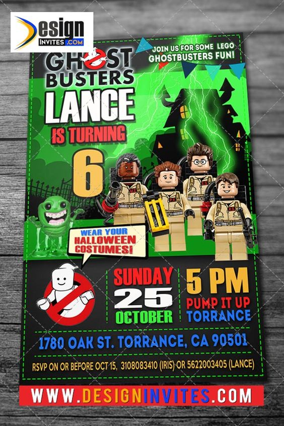 Ghostbusters Birthday Invitations DI314 Custom Invitations and