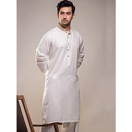 Indian kurta shalwar design for men in off-white colour. Buy online at http://www.Needlehole.co.uk