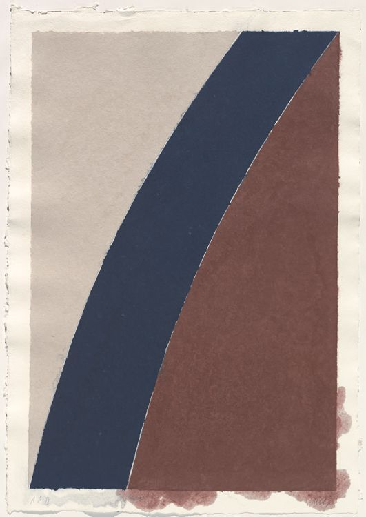 Ellsworth Kelly (1923-) – Colored Paper Image XII (Blue Curve with Brown and…: