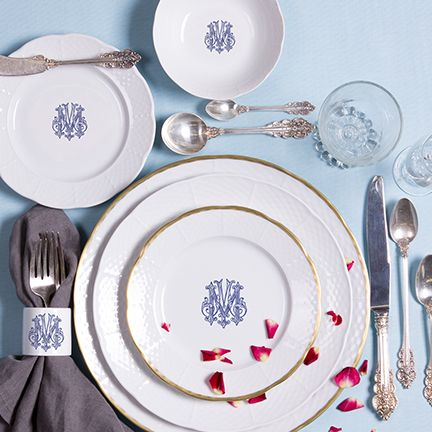 Stunning Sasha Nicholas Monogram Dinnerware. New monogrammed dinnerware from Sasha Nicholas available in 5 coors and 6 fonts-you can also use your own crest or monogram to make your tablescapes and wedding registry more meaningful: