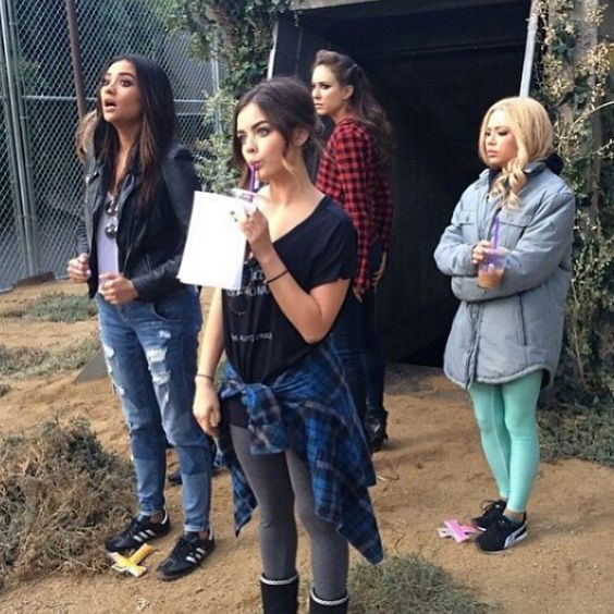 Lucy being 14,Janel being cold,shay looking fantastic and Troian looking sassy!