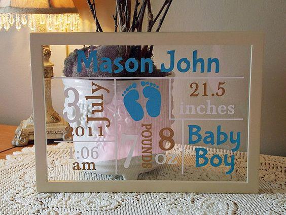 Cricut Vinyl Baby Gift Ideas : Male baby annoucnement vinyl lettering framed vinyls