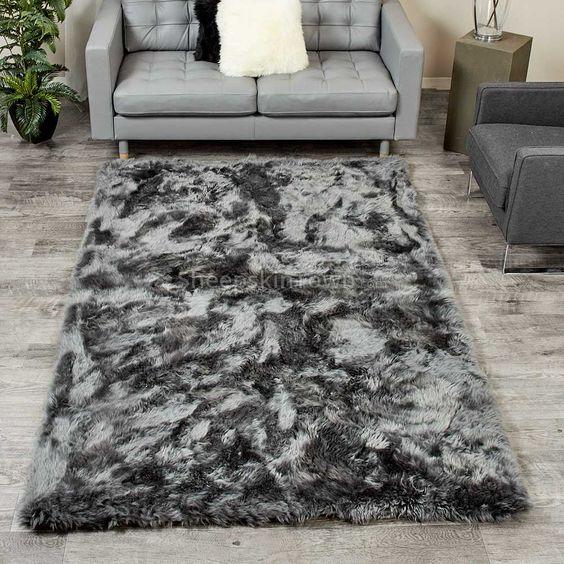 Extra Large Dover Sheepskin Area Rug 5x8 Feet Grey Fur Rug Shag Rug Living Room Large Sheepskin Rug