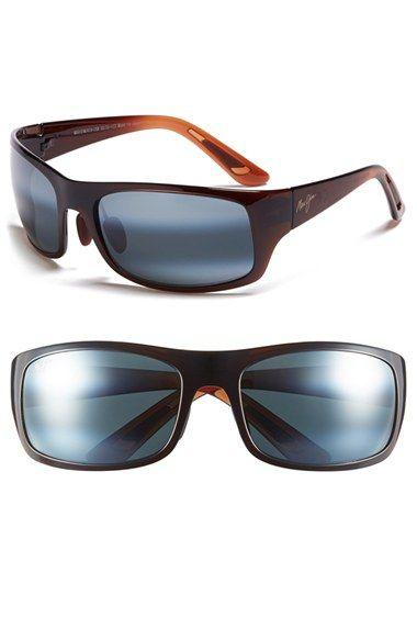 Men's Maui Jim 'Haleakala' Polarized Wrap Sunglasses - Rootbeer Fade/ Neutral Grey