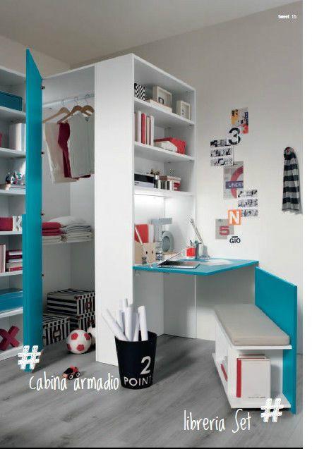 Cameretta con letto armadio scrivania in larice vari colori ...