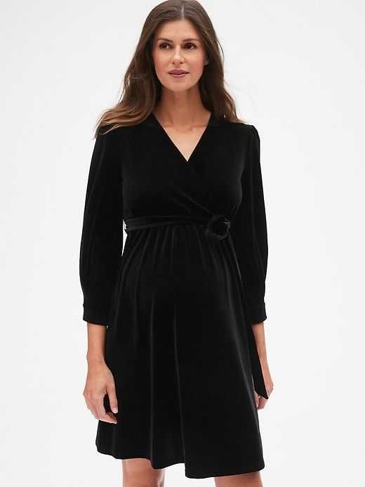 Gap Womens Maternity Velvet Tie Waist Crossover Dress True Black Crossover Dress Dresses Stylish Maternity Outfits